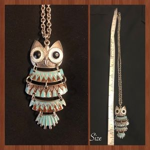 Silver Hinged Owl Sweater Necklace